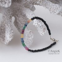 special occassion handcrafted jewelry Emerald Ruby Sapphire and Black Spinel Sterling Silver Bracelet fall/ winter collection