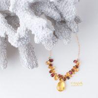 equisite fall/ winter minimalist Honey Topaz Pear Drop Multi Briolette 14KT Gold Filled Artisan unique Necklace
