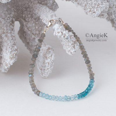 Gorgeous handmade Blue Topaz and Labradorite Sterling Silver Bracelet for special ocassion