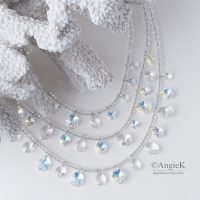 Crystal Briolette Multi Strand Sterling Silver Artisan Necklace Made With Swarovski Elements for special ocassion jewelry