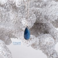 one of a kind artisan Faceted Kyanite Pear CZ Bail Sterling Silver Necklace fall/winter jewelry
