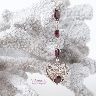 Beautiful handmade jewelry Garnet Heart Sterling Silver Lariat Style Y Necklace