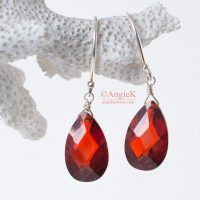 handcrafted Garnet Red Cubic Zirconia Flat Pear Sterling Silver Earrings Timeless look for any occasion