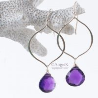 Spring Collection handmade gorgeous Lila Amethyst Heart Briolette Marquis Petal Sterling Silver Earrings