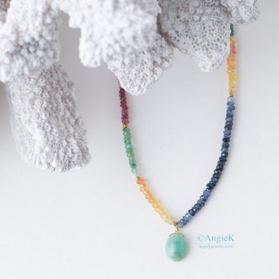 trendy hand-crafted designer beaded jewelryMae Emerald Ruby And Sapphire Gold Vermeil Necklace