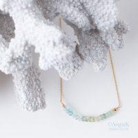 Serene Multi Aquamarine gemstone rondelle 14KT Gold Filled Handcrafted Necklace