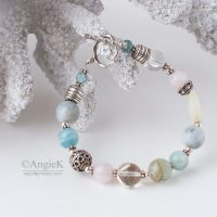 Handcrafted unique Multi Aquamarine Sterling Silver Toggle Bracelet