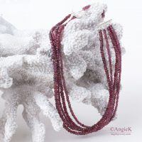 Stunning handmade multi strand  Rhodolite Garnet gemstone Sterling Silver Necklace jewelry fall/ winter collection