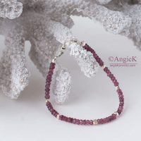 Modern gemstone bracelet with Rhodolite Garnet and Thai beads Sterling Silver