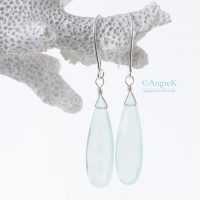 Spring Collection handcrafted jewelry Serena Aqua Chalcedony Faceted Pear Sterling Silver Earrings