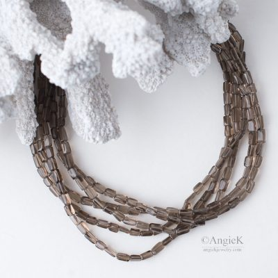 Timeless classic hand-crafted piece Smoky Quartz Multi Strand Sterling Silver Necklace