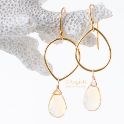 fall/winter collection handmade fashionable Warm Honey Citrine Faceted Pear Gold Earrings for special ocassion