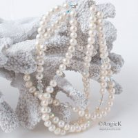 Handmade beautiful choker style multi strand White Freshwater Pearl Crystal Necklace made with Swarovski Elements brides to be