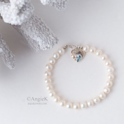 Handcrafted jewelry minimalist White Freshwater Pearls Blue CZ Heart Charm Sterling Silver Bracelet fall/winter collection