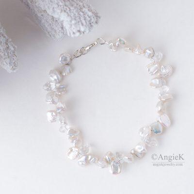 Elegant simple White Keshi Pearls And Crystal Briolette Sterling Silver handmade Bracelet Made With Swarovski Elements