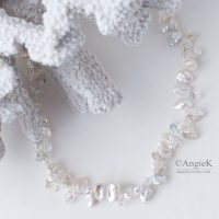 Elegant White Keshi Pearls Crystal Briolette Sterling Silver luxurious Artisan necklace Made With Swarovski Elements