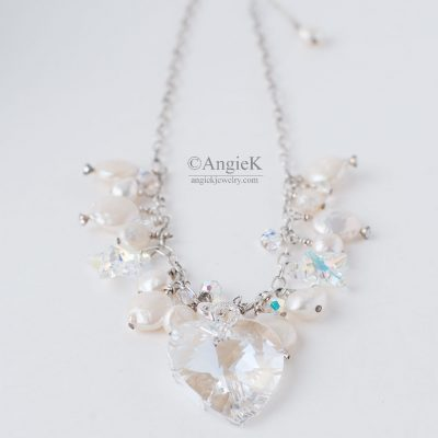Authentic handcrafted White Pearls Crystal Heart Pendant Sterling Silver Necklace Made With Swarovski Elements for a stylish look