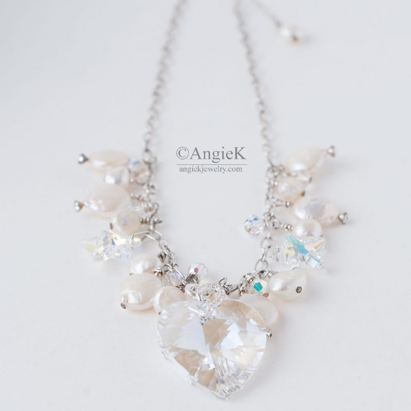 902999950159a Angie K White Pearls Crystal Heart Necklace Made With Swarovski® Crystals