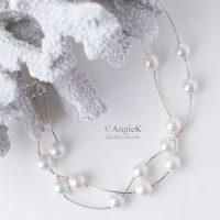 high quality artisan White South Sea Shell Pearls Double Strand Sterling Silver Necklace for special ocassion fall/winter jewelry