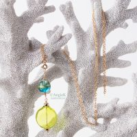 Artisan April Peridot Green mouth blown genuine italian murano glass bead 14KT Gold Filled Pendant