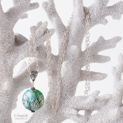 Handcrafted precious Aqua and Peridot Murano Glass Sterling Silver Pendant jewelry