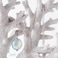 Handmade beautiful Aquamarine Murano Glass Sterling Silver Pendant designed with daisy spacer beads and findings