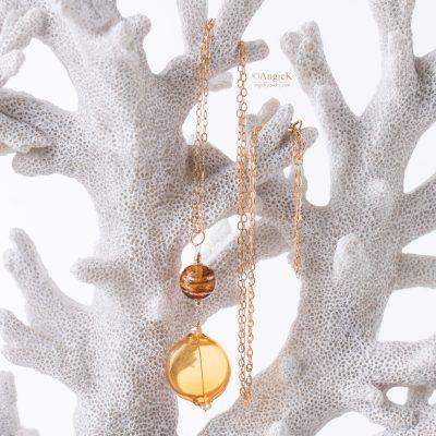 Handmade jewelry Aura genuine  Topaz  mouth blown Murano Glass 14KT Gold Filled Pendant