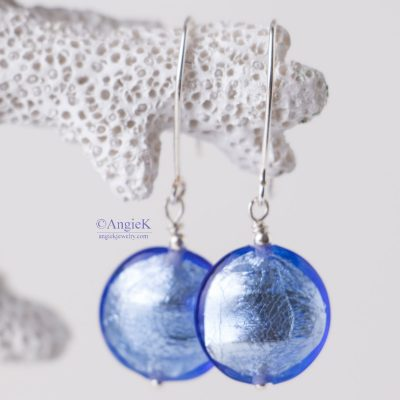 Hanmade jewelry  stylish  elegant Blue Murano Glass Sterling Silver Earrings