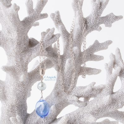 Hanmade  artisan Bluebell Blue Murano Glass Pendant with beautiful sterling silver chain