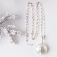 Hanmade Clear White Gold Foil Genuine Italian Murano Glass Sterling Silver Pendant bridal  jewelry