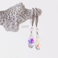 Gorgeous sparkling Angie K handmade Crystal AB Briolette Sterling Silver Earrings Made With Swarovski Crystals
