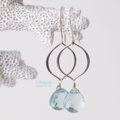 Hhandcrafted fashionable jewelry Aquamarine heart shape gemstone Briolette Marquis Petal Sterling Silver Earrings