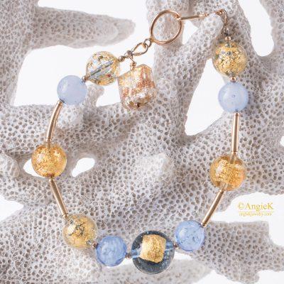 Summer Handmade gemstone jewelry Aurora Multi Murano Glass 14KT Gold Filled Charm Bracelet