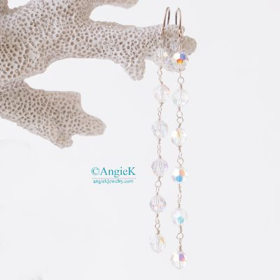 handmade drop earrings designed with round Swarovski crystal jewelery bridal special occasion