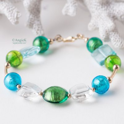 Handcrafted beaded  shimmering Marina Multi Murano Glass 14KT Gold Filled Bracelet summer jewelry