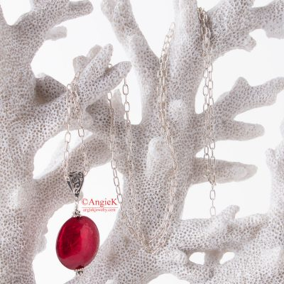 Bold Artisan must-have Rosso Ruby Red Murano Glass Pendant with Sterling Silver chain
