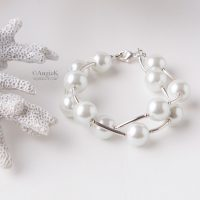 fall/winter collection Unique high quality White South Sea Shell Pearls Double Strand Sterling Silver Bracelet
