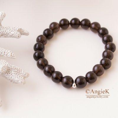 artisan Stylish unisex bracelet easy slip-on Amazing natural Smoky Quartz bracelet everyday jewellery