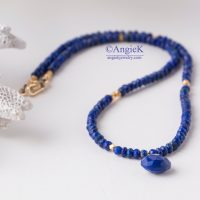 Spring/Summer collection fabulous romantic handmade minimalist look blue Lapis Lazuli gemstone necklace