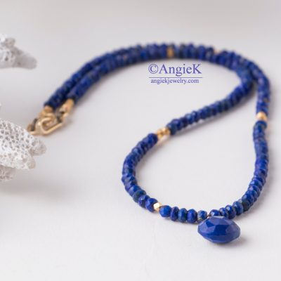 Spring/Summer collection fabulous romantic handmade minimalist look blue Lapis Lazuli gemstone necklace