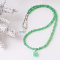 handmade bright green faceted Chrisophrase gemstone necklace special occasions spring/summer collection