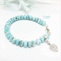 handmade one of a kind faceted larimar gemstone and cz heart charm sterling silver bracelet