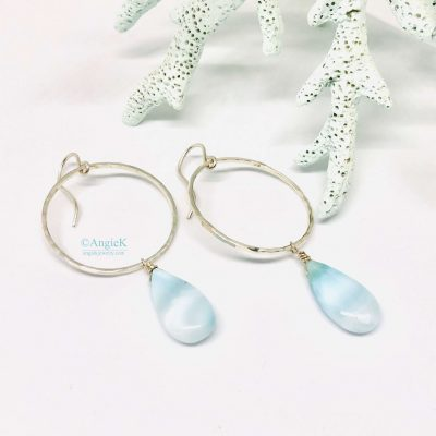silver and blue larimar hoop style earrings handmade one of a kind gift idea