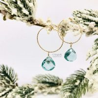 handcrafted stunning gold filled and aquamarine brilette earrings ice queen collection