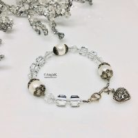 one of a kind artisan crystal and white pearl silver heart charm bracelet ice queen collection fabulous bridal bracelet