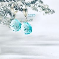 fabulous handcrafted sky blue topaz briolette dangle earrings ice queen collection
