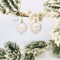 handmade classic white coin pearl earrings ice queen collection perfect bridal earrings