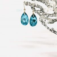 artisan classic teardrop blue crystal earrings, fabulous gift for her, ice queen collection