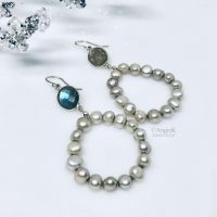 fabulous grey pearl and labradorite hoop style earrings fashionable statement look