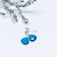 handmade beautiful london blue topaz heart shape briolette gemstone sterling silver earrings ice queen collection